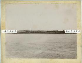 清末民初美国波士顿历史悠久的内战时期的沃伦堡垒全景老照片,24.4X18.5厘米
