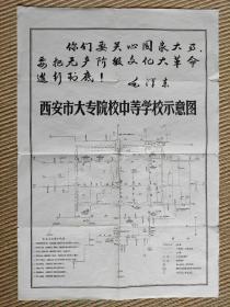 【旧地图】西安市大专院校中等学校分布图  8开  文革学生串联地图!带毛主席语录