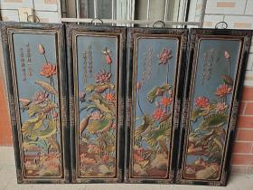 漆器四條屏《百年好合》四扇閣掛屏收藏擺件 單個高1.2米 寬40厘米。