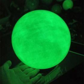 夜光石 绿色天然原石莹石发光球,吸光,发光,直径12厘米,送底座(可选尺寸规格,另有蓝色的)