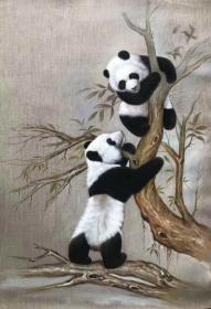 【卖家保真】当代著名画家林金山老师精品油画熊猫 保真保手绘 真迹!【实物拍摄,质量上乘:终身保真,假一赔万】