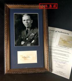 """""""美国五星上将,马歇尔计划提出者"""" 马歇尔将军 签名(含装裱) ,由三大签名鉴定公司之一JSA提供鉴定"""