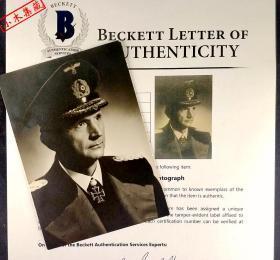 """""""二战德国最后元首"""" 卡尔·邓尼茨 签名肖像照片 由三大签名鉴定公司之一Beckett(BAS)鉴定封装"""