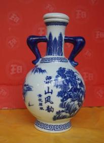 收藏酒瓶 梁山风景图青花瓷酒瓶高23厘米一斤半装 原物拍照 A3