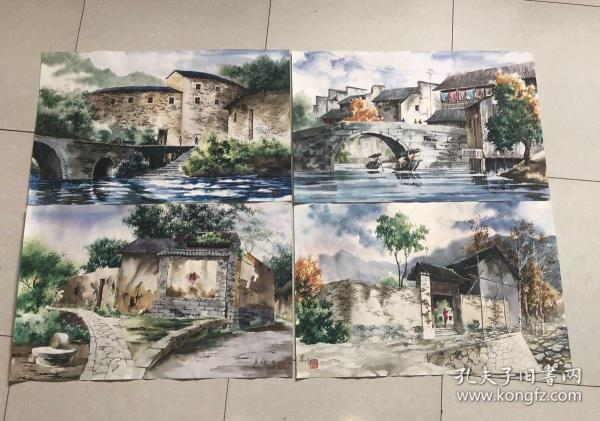 當代名家字畫收藏 吳冠中 風景水彩畫 純手繪實拍