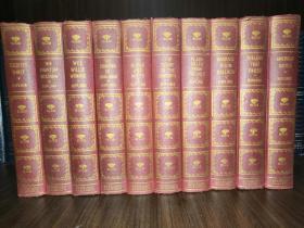 1930年出版的诺贝尔文学奖得主吉普林经典作品集Works of Rudyard Kipling,10册,仿皮精装,英文原版,精美版画插图