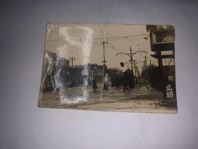 民国原版老照片 天津马路  大坂每日新闻远东新报社等街景