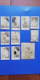 老照片:1949年7月 開放(穿短裙)的女青年照片(共十張)6*4、8*6.5cm!