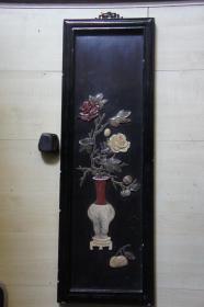 玉石镶花瓶挂板
