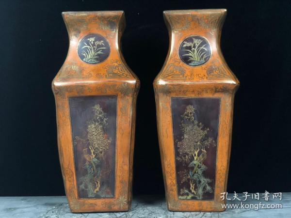 木胎漆器花瓶一對