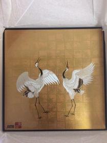 日本漆器 漆画 光琳风鹤舞