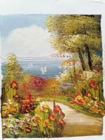 纯手绘油画 风景图  海景 批发