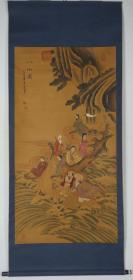 【日本回流】原装旧裱 曼菁 水墨画作品《八仙图》一幅(纸本立轴,画心约9.3平尺,钤印:曼菁、王铎)HXTX188775