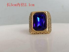 乡下收的镶嵌蓝宝石戒指.0..12