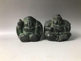 2026 软装 回流纯铜佛像,全品如图,两个高11cm 身宽11cm  七福神