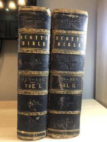 SCOTT'S  BIBLE   1846年 全皮 三面书口刷金  大量钢版画含地图  大开本  厚重