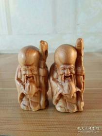 精美木雕,手把件,寿星老,一对