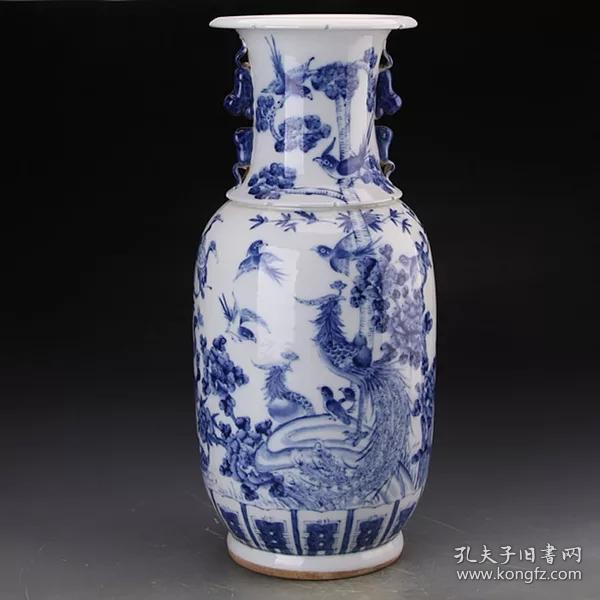 民國青花鳳紋雙耳瓶