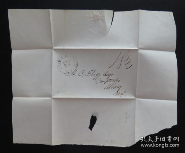 1840年左右美國(拜倫港)實寄史前封、銷18分手寫郵資55