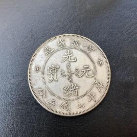 青海省造光緒元寶庫平七錢二分龍洋銀元
