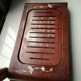 实木镶螺钿工艺老茶台,有微裂如图,长54cm,宽28.5cm