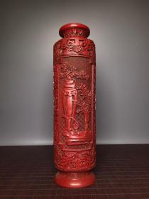 漆器满工浮雕颈瓶摆件 直径9厘米 高32厘米,重660克