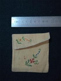 民国时期老物件 手工活儿绣花卉的小布袋子