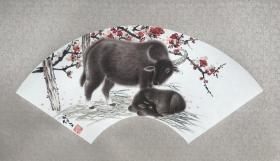邓博文生肖扇面。尺寸65×24