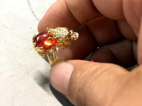 清代天然紅寶石戒指66