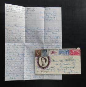 1953年6月2日(新西蘭寄英國)首日封貼伊麗莎白像郵票5枚、銷4個郵戳、含信件(99)