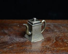 文房雅玩老铜刻画墨盒文人手工刻古董古玩收藏白铜水滴砚滴