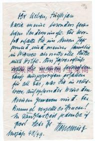 二战纳粹德国空军元帅 凯塞林 1949年亲笔信