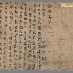 敦煌遗书\法藏 \论语卷第六先进篇 \30*305.8韩国进口绢布复制品特级(画芯未装裱)