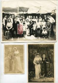 【静思斋】早期结婚&婚礼老照片三张合售
