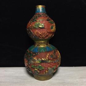 旧藏 乾隆款漆器雕刻山水楼阁葫芦瓶 尺寸10X22厘米 古玩古董旧货收藏