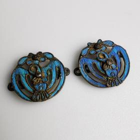 清代老银点翠团鹤帽花一对古玩银饰品挂件古董民俗老物件包真包老