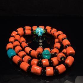 旧藏 珊瑚佛珠 念珠 珠子直径11mm 古玩古董旧货收藏