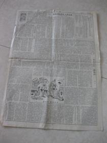 """人民日报  1950年8月20日 第五、六版---张仃漫画""""象征部队的检阅""""、老舍选集自序"""