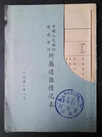 1951年中国人民银行苏南分行所属通汇情况表,封面有残缺。