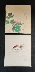 D920:回流手绘硬卡纸国画二幅合拍(日本回流.回流老画.老字画)