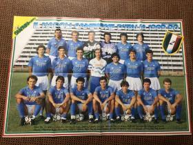 原版足球海报 89 90赛季那不勒斯 尤文图斯大幅双面海报 马拉多纳第二次意甲冠军赛季