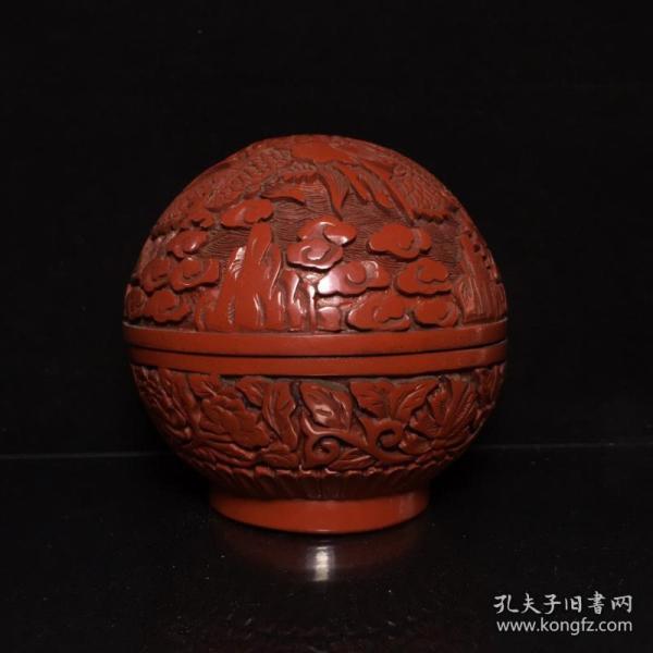 漆器祥云龍紋粉盒
