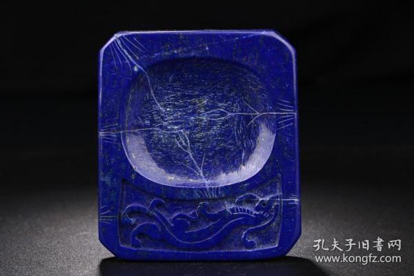 舊藏青金石鳳鳥硯臺