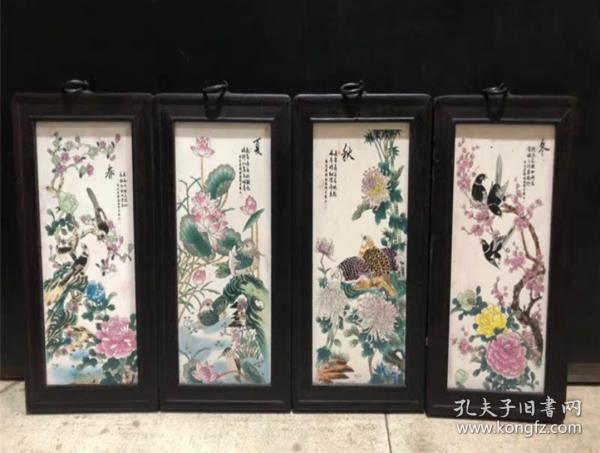 四季花鳥圖 陶瓷板畫4件套