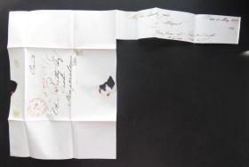 1844年5月11日(巴爾的摩寄黑格斯敦)實寄史前封、銷已付40分郵資手寫戳58
