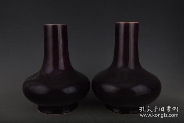 清雍正寶石紫釉扁肚瓶2