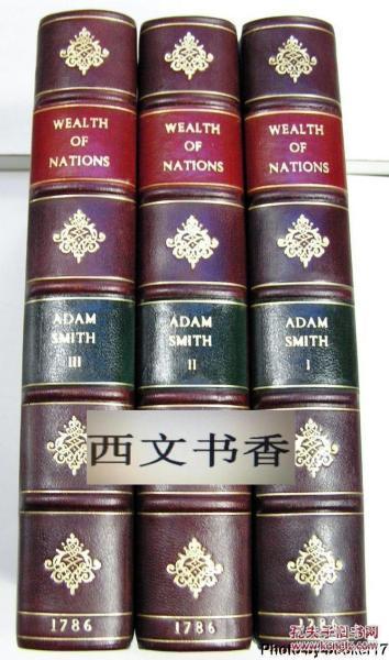 限量版,亞當·斯密 著作《 國富論 3卷全.》 1786年倫敦出版,精裝。