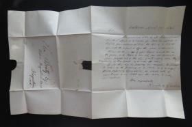 1846年4月21日美國(巴爾的摩寄黑格斯敦)實寄史前封、銷已付5分手蓋郵資52