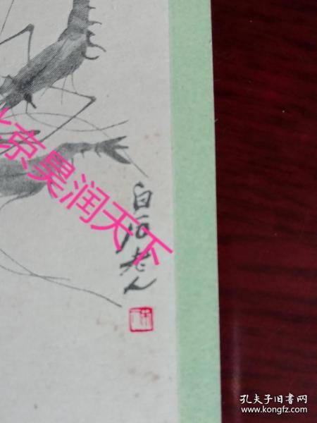 齊白石蝦書簽 1956年 珍貴!