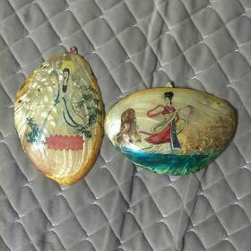 贝雕仕女图(2枚合售)